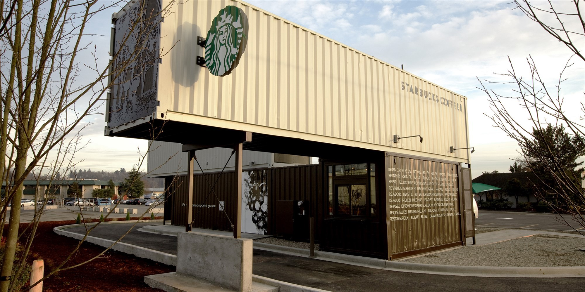 Recycled Shipping Container Coffee Shop from Starbucks
