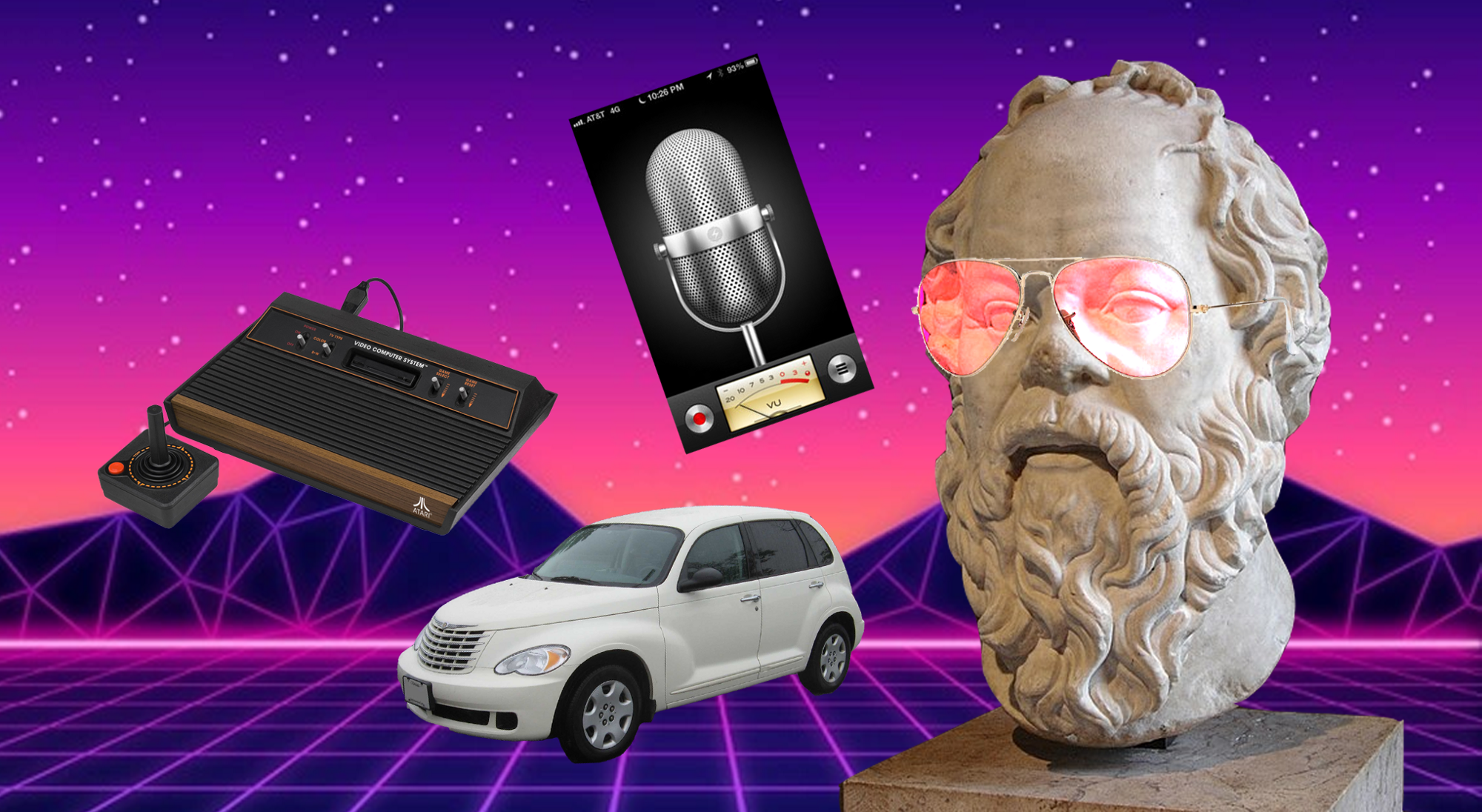 A bust of Socrates with Rose-Tinted Glasses, a retro-styled car, a 70s video game console and a microphone app