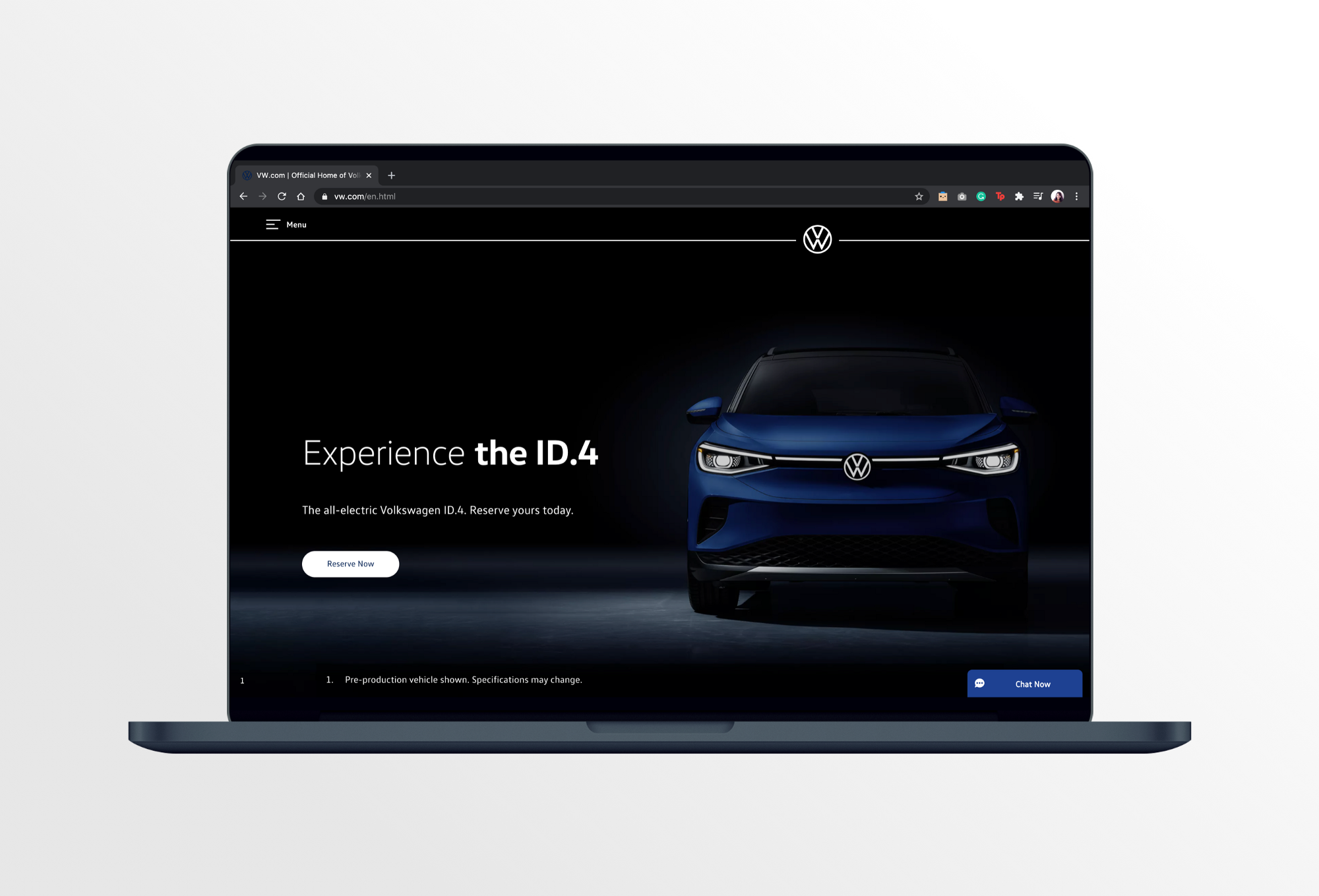A Volkswagen home page interface.