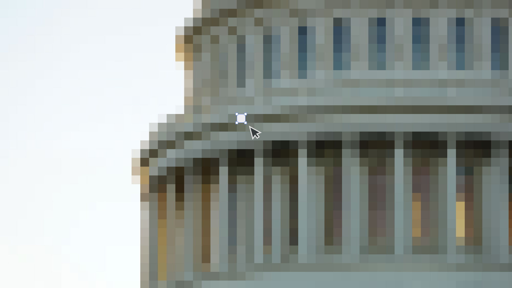 Visual illustration showing a pixelated government building, with a pixel selected, and being edited.
