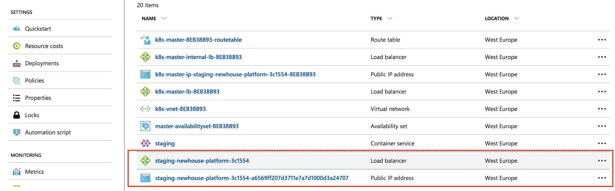 Building a simple microservices platform on Azure including CI/CD
