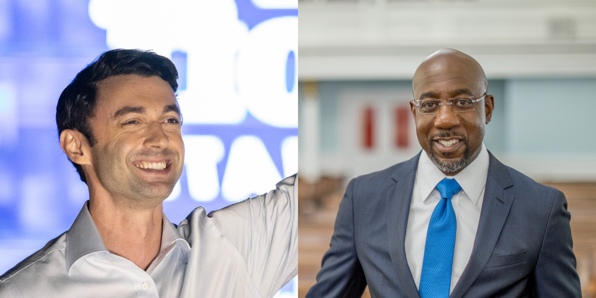 Georgia Democratic candidates Jon Ossoff and Reverend Raphael Warnock