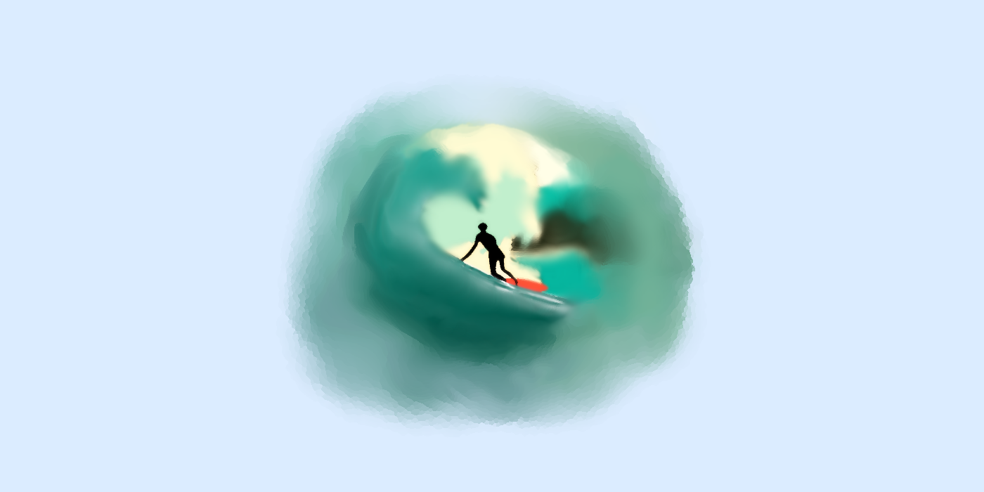 A drawing of a surfer in a wave