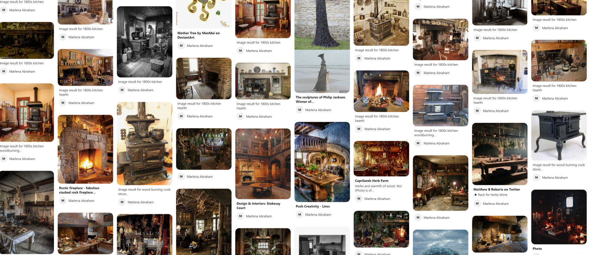 A Pinterest board of old-fashioned medieval to Georgian rural kitchens