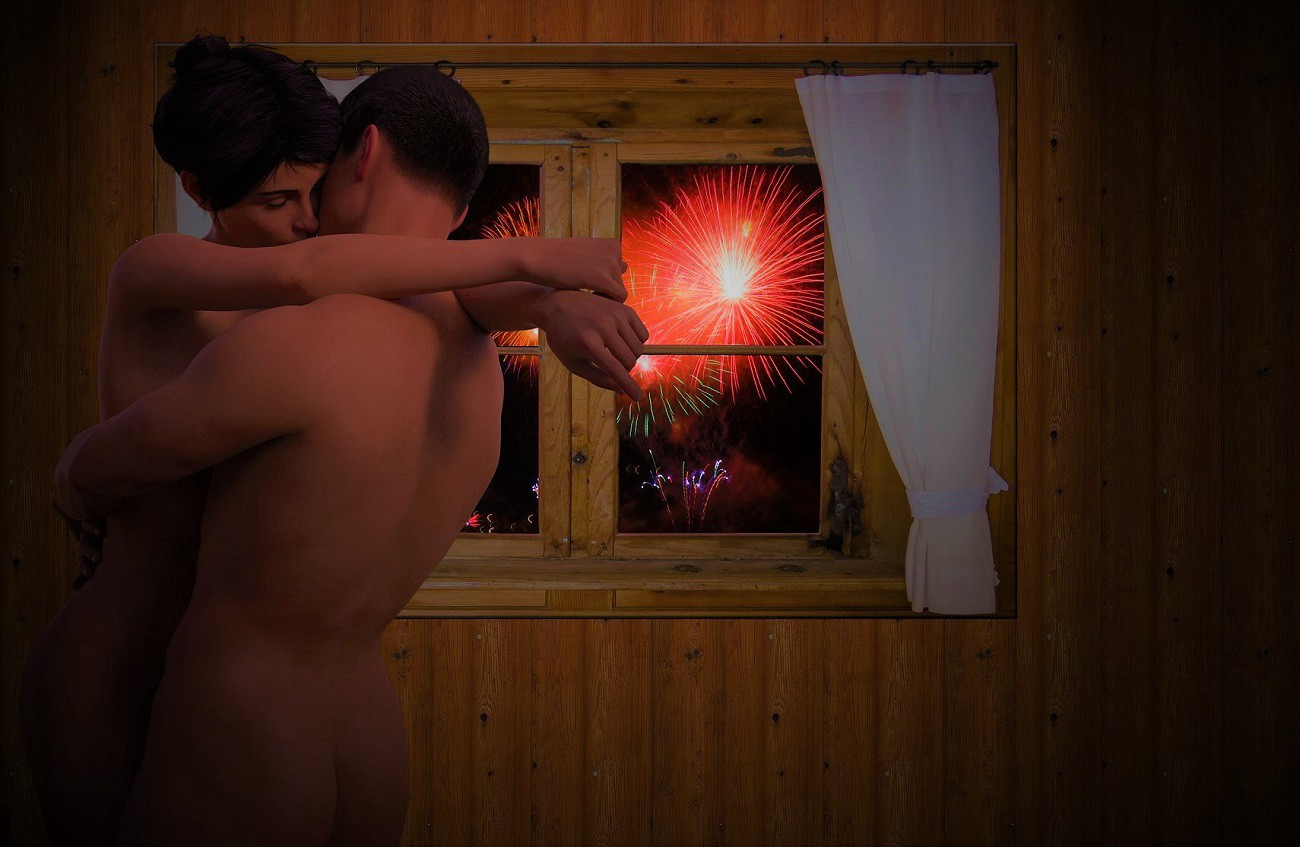 A naked couple embrace while outside fireworks are exploding.