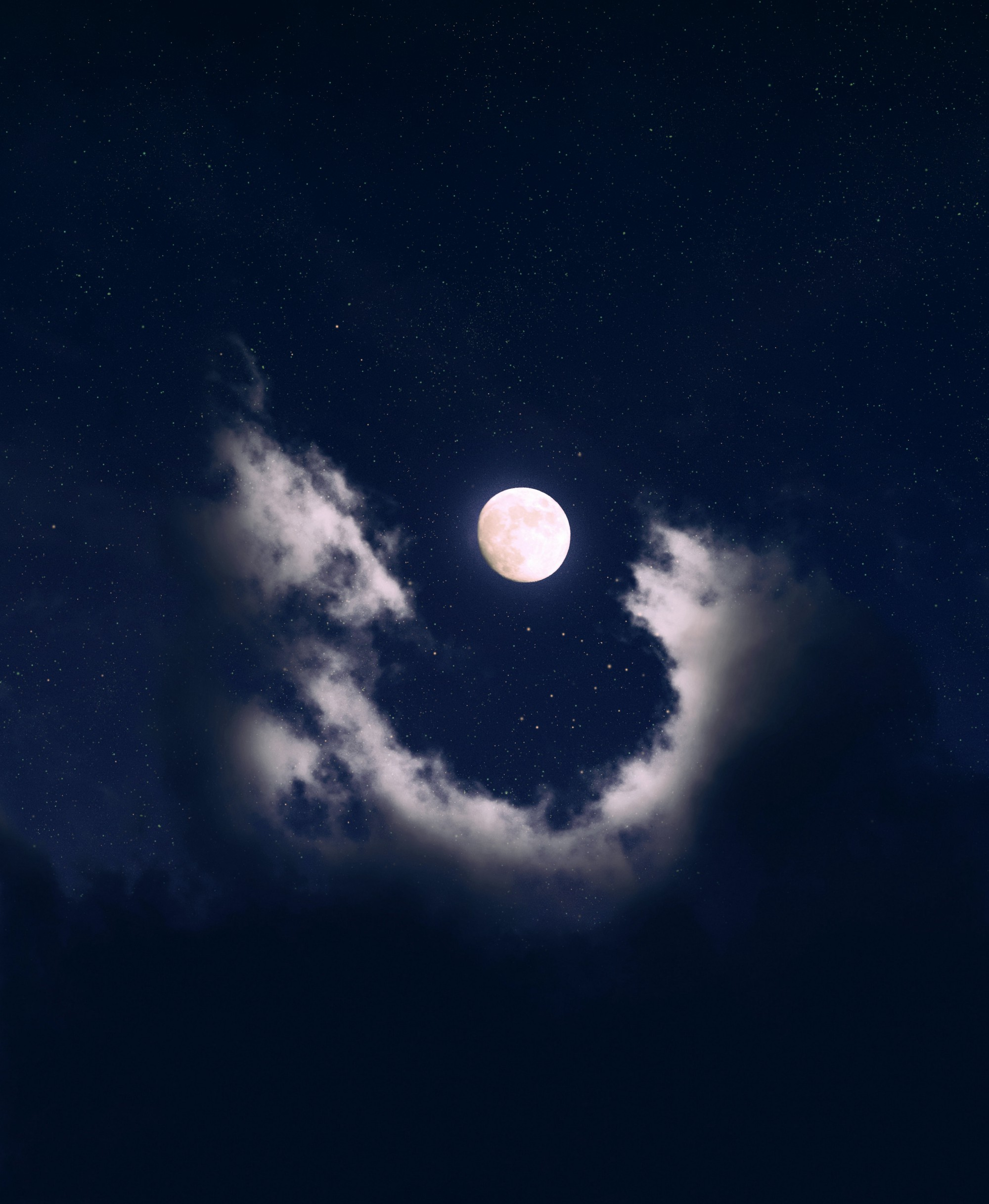 A nearly full moon glows lavender in the middle of a cloud that makes a U-shape underneath it.