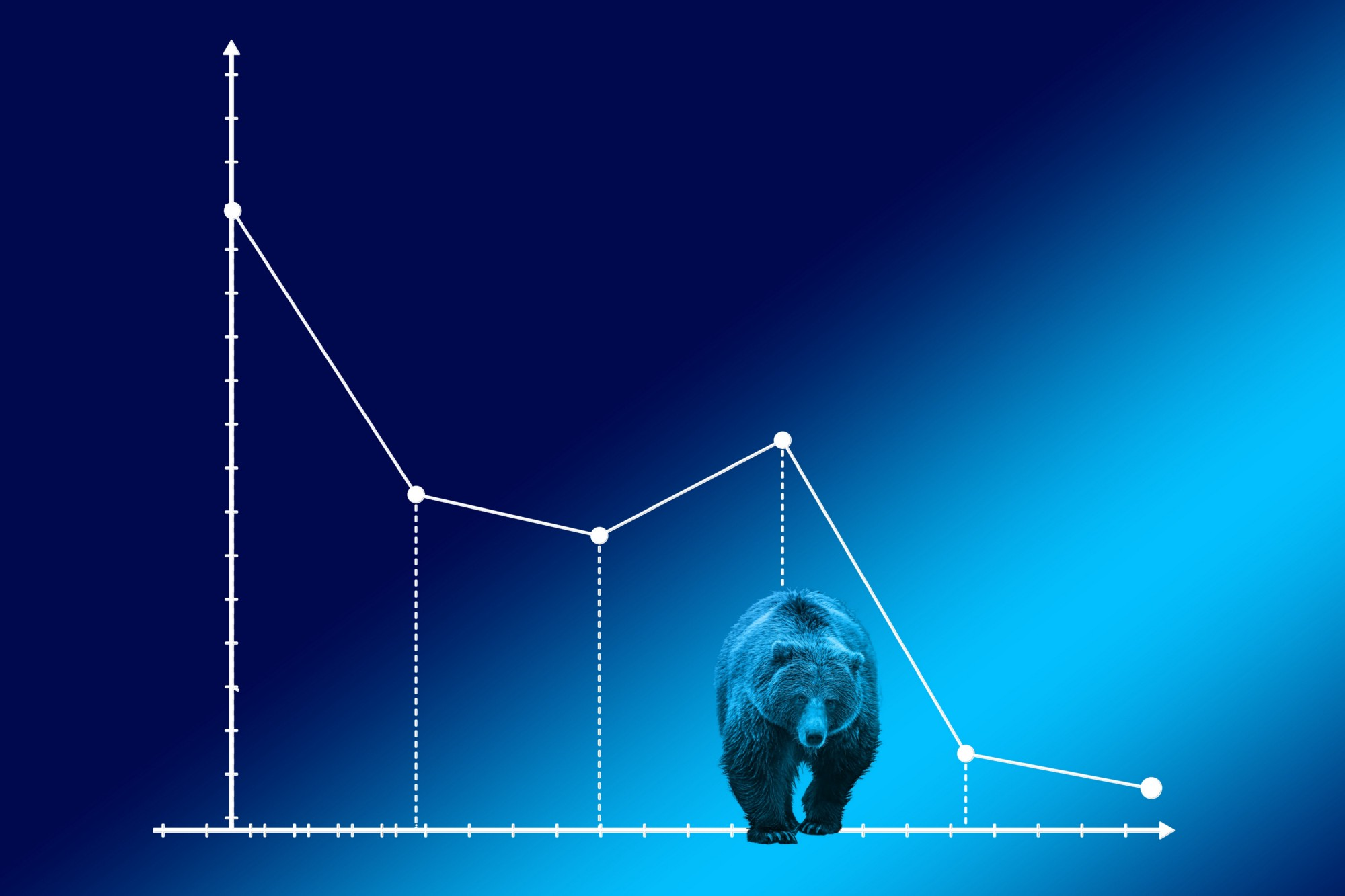 A bear seen lumbering toward the reader with a background of a falling graph.