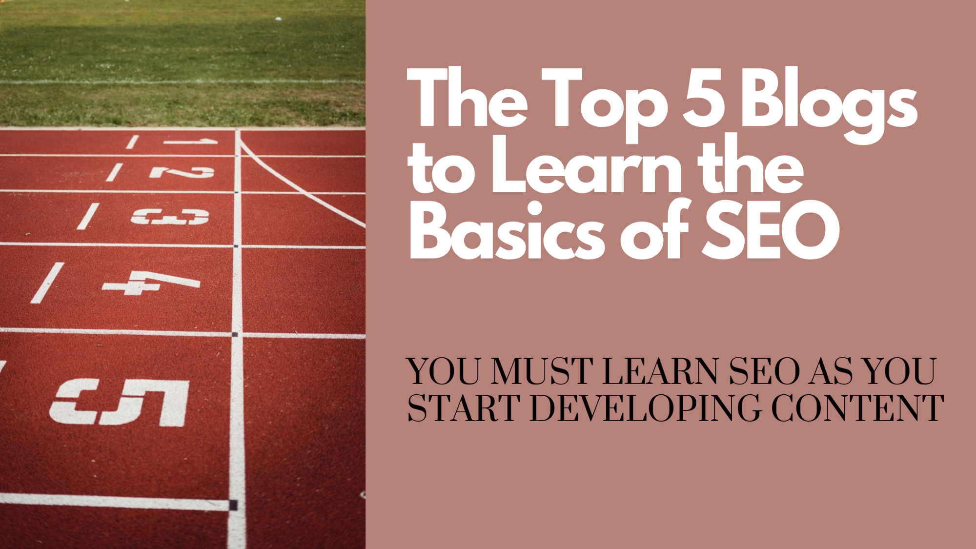 Blog banner that says The Top 5 Blogs to Learn the Basics of SEO