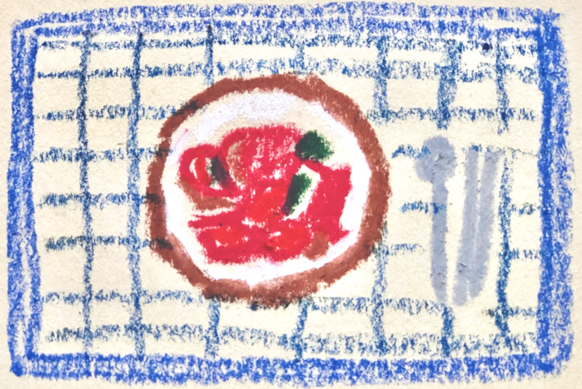 Simple crayon drawing of a dish of kimchi, a spoon, and a set of chopsticks on a blue-gridded placemat.