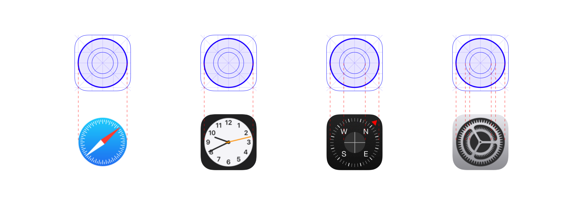 Apple compass faces, clock faces, and gears follow their circular keylines