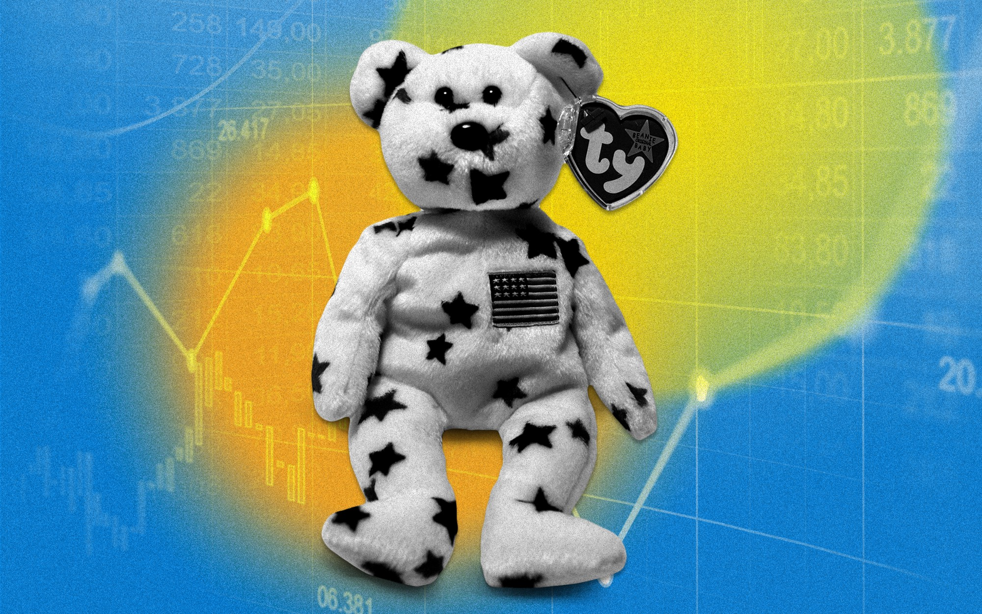 An illustration of a Beanie Baby with a star print and the U.S. flag on its chest. Behind the beanie baby is a generic stock market image.