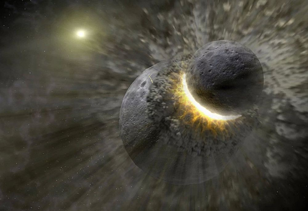 A rocky planet is struck by a smaller body. Image credit: NASA/JPL-Caltech