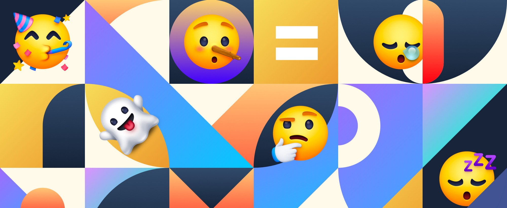 Cover image for the blog that has floating emojis on top of a multi colored abstract background