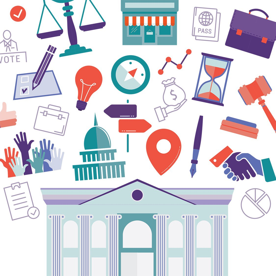 illustrastion of government buildings