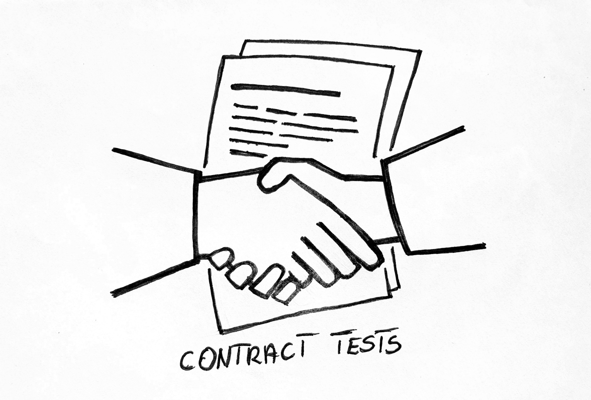 A drawing of a handshake with a contract document in the background