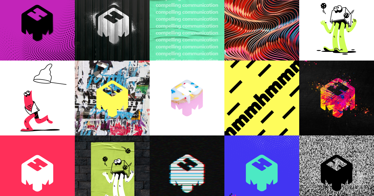 brand mark for mmhmm in several variations all colorful and playful, think MTV
