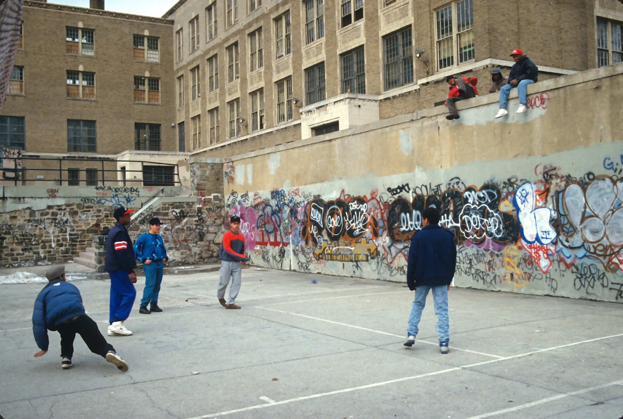 d0893e46908 Kids played handball on a schoolyard court in the Bronx, New York, in 1988.  (Yvonne Hemsey/Getty Images)