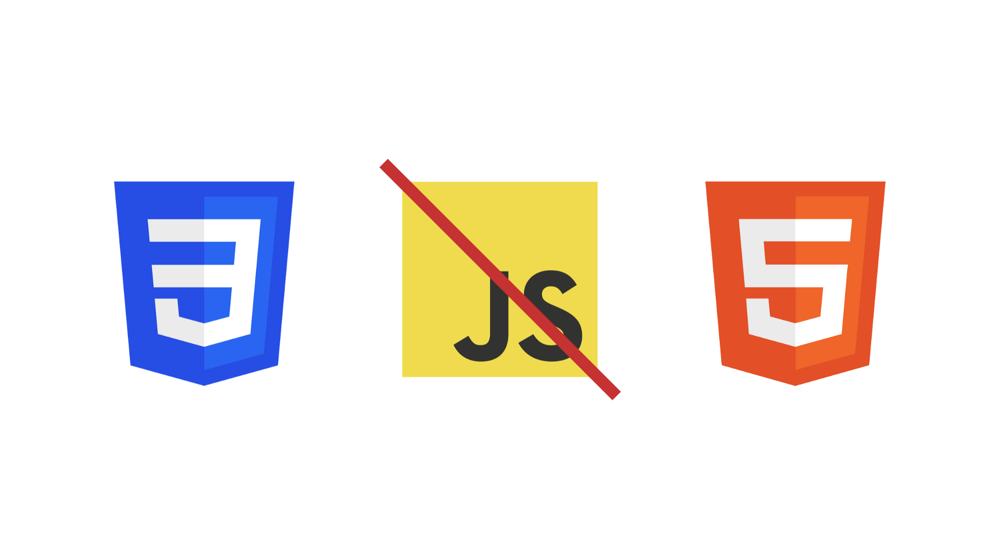 CSS3 logo, JS logo with a red line through it and the HTML5 logo in a row