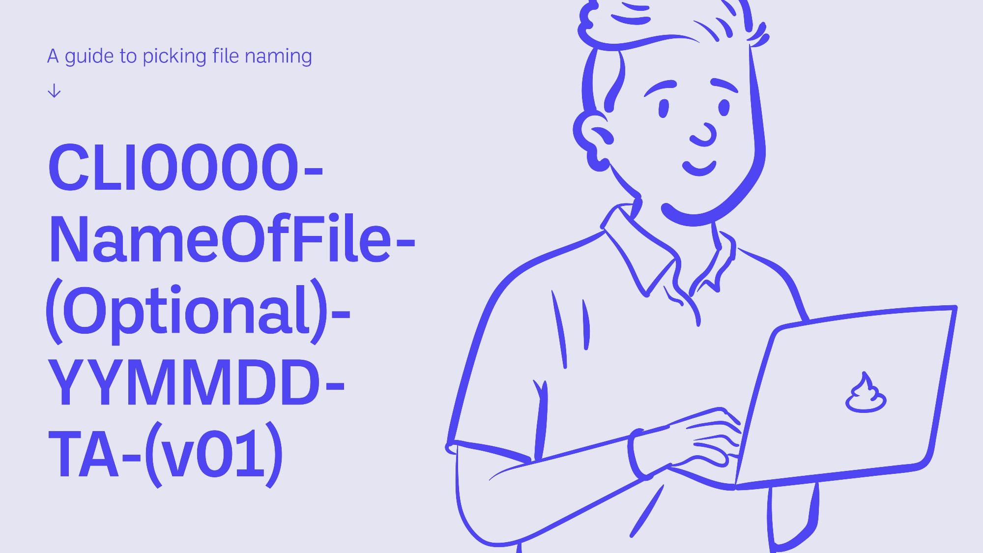 Title slide with text and simple illustration of person holding laptop