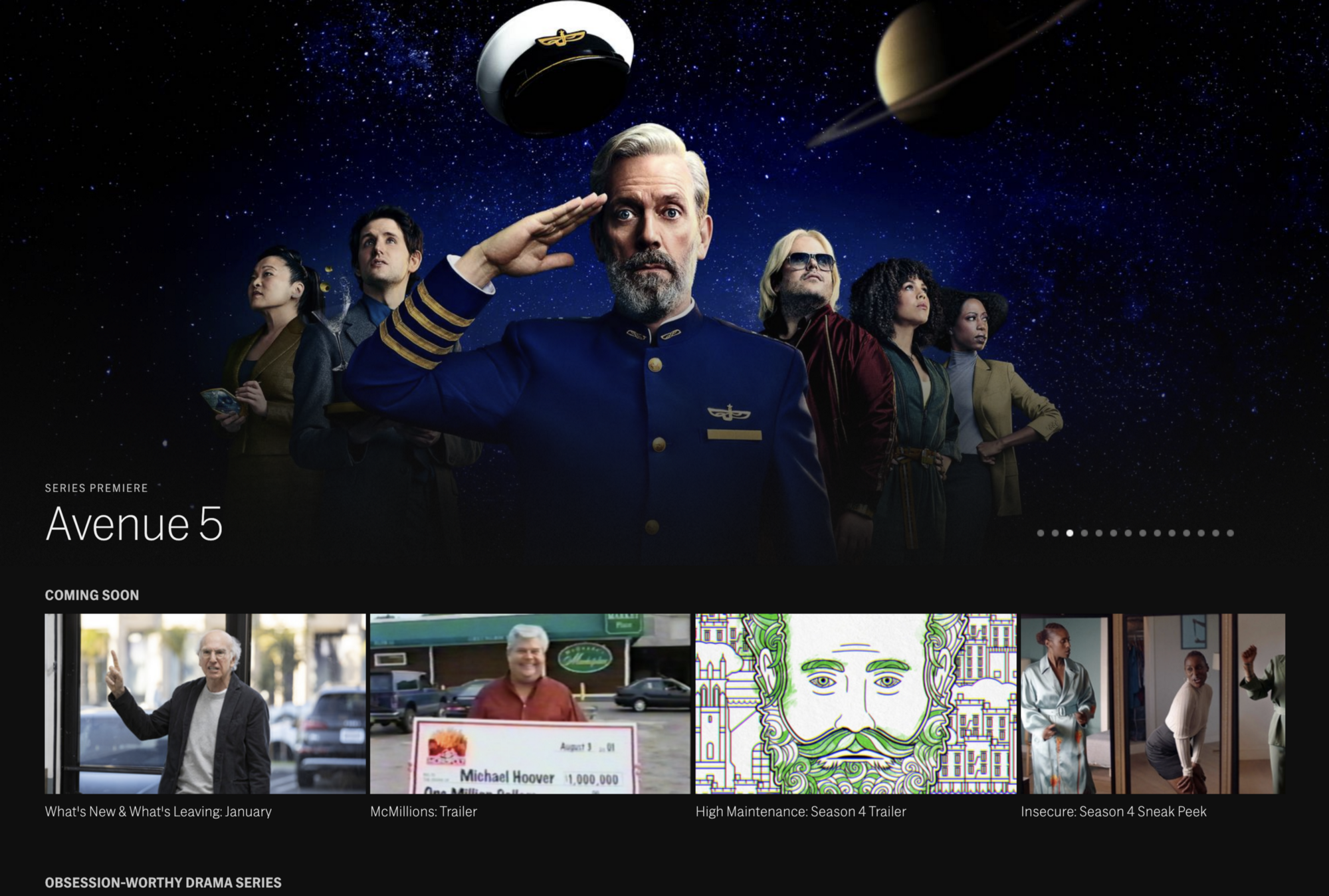 The HBO Now home screen is mostly promos at the top for that stuff that I haven't shown an interest in.
