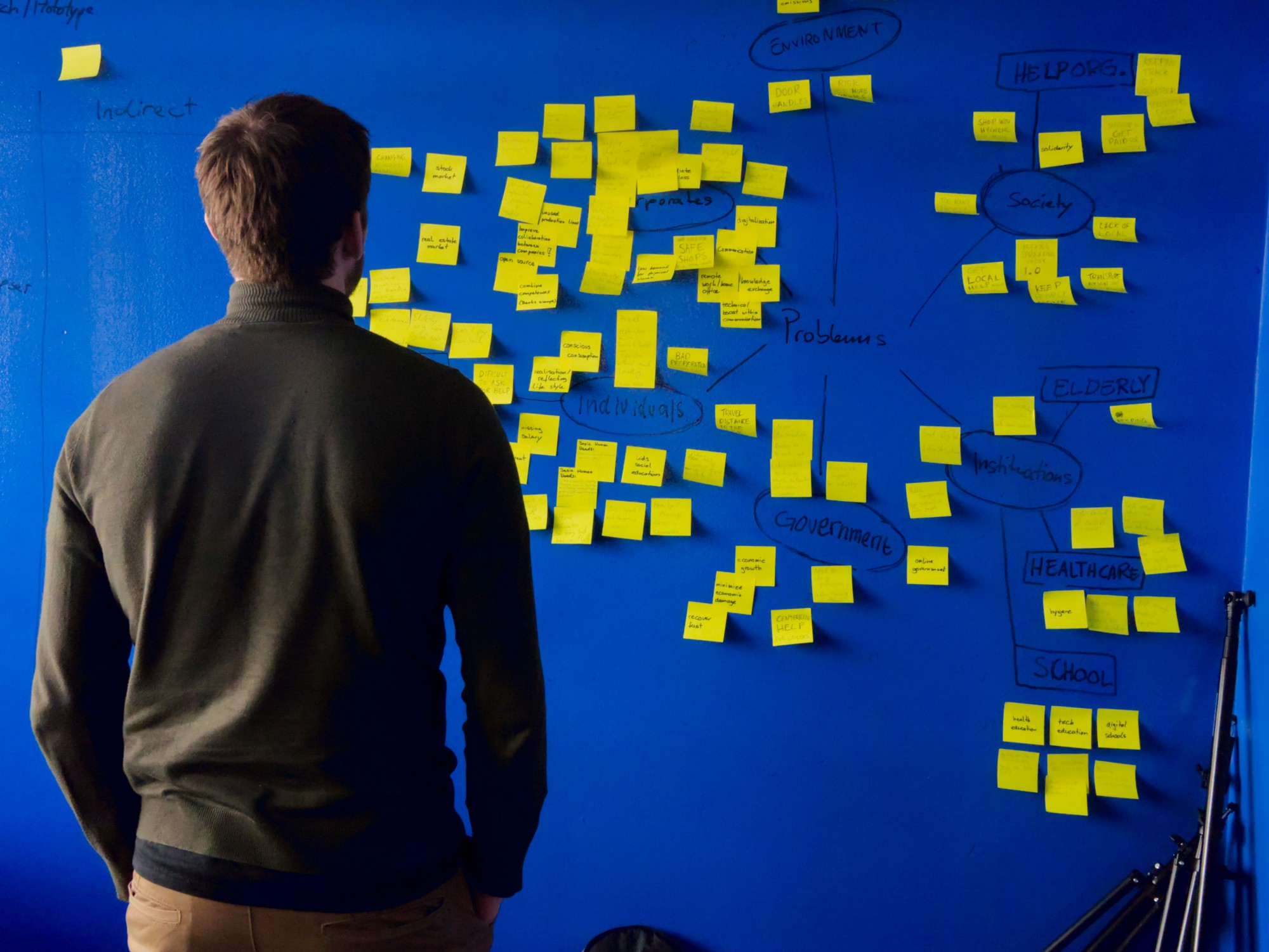 A man that is standing in front of a blue board filled with yellow post-it notes.