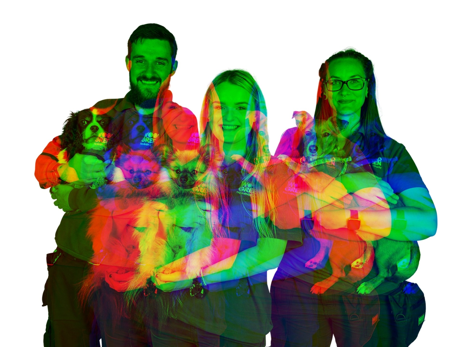 A colorful double exposure of three people, each holding a dog.