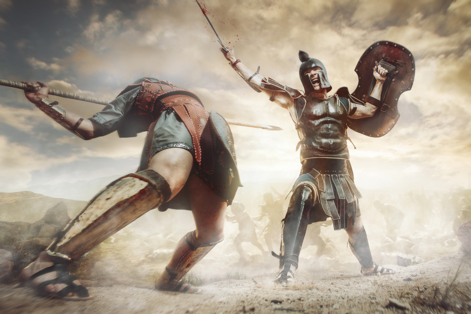 Two gladiators fighting while holding spears and shields.