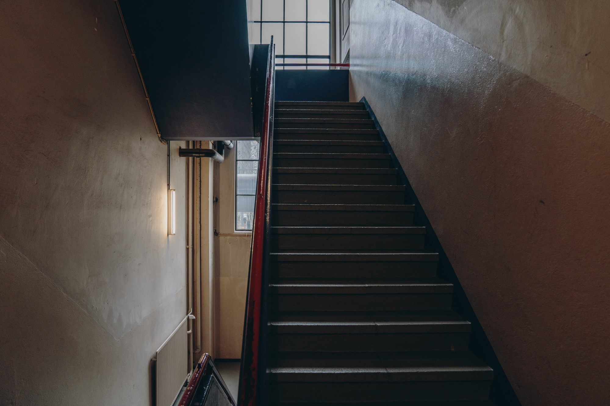A picture of a staircase to describe the first scene of Scott coming down the stairs.