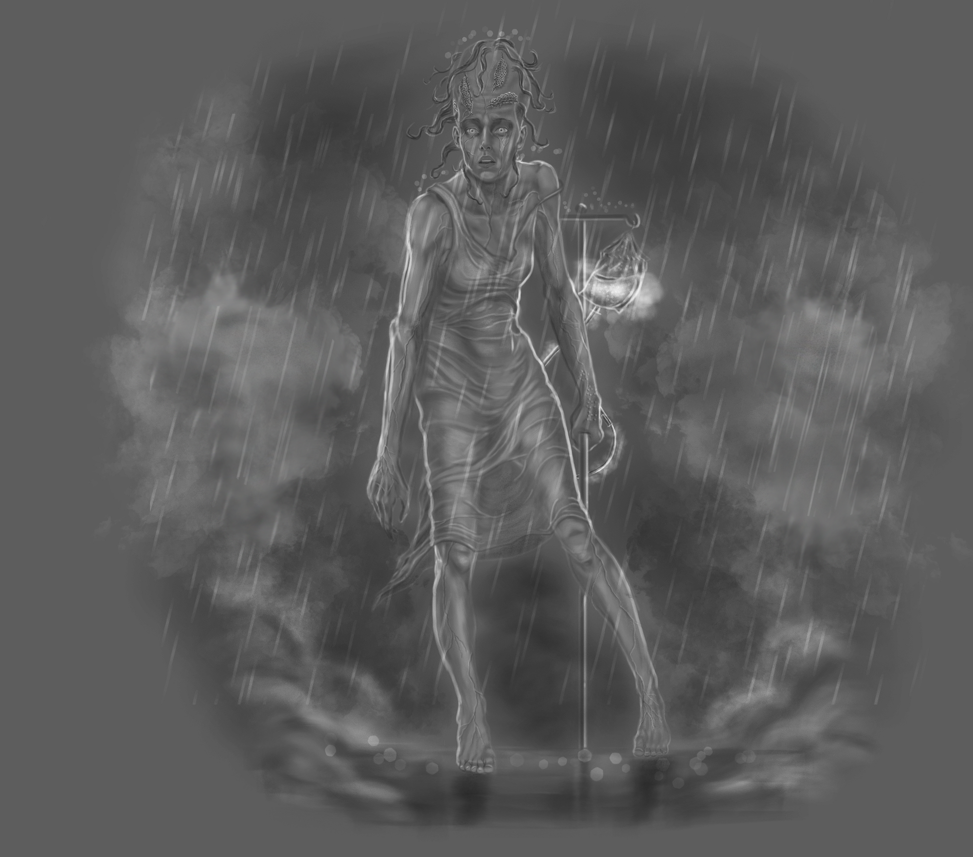 A black and white image of a very thin, solemn woman standing in the rain. An IV drip hangs to her side and her head is stretched toward the sky.