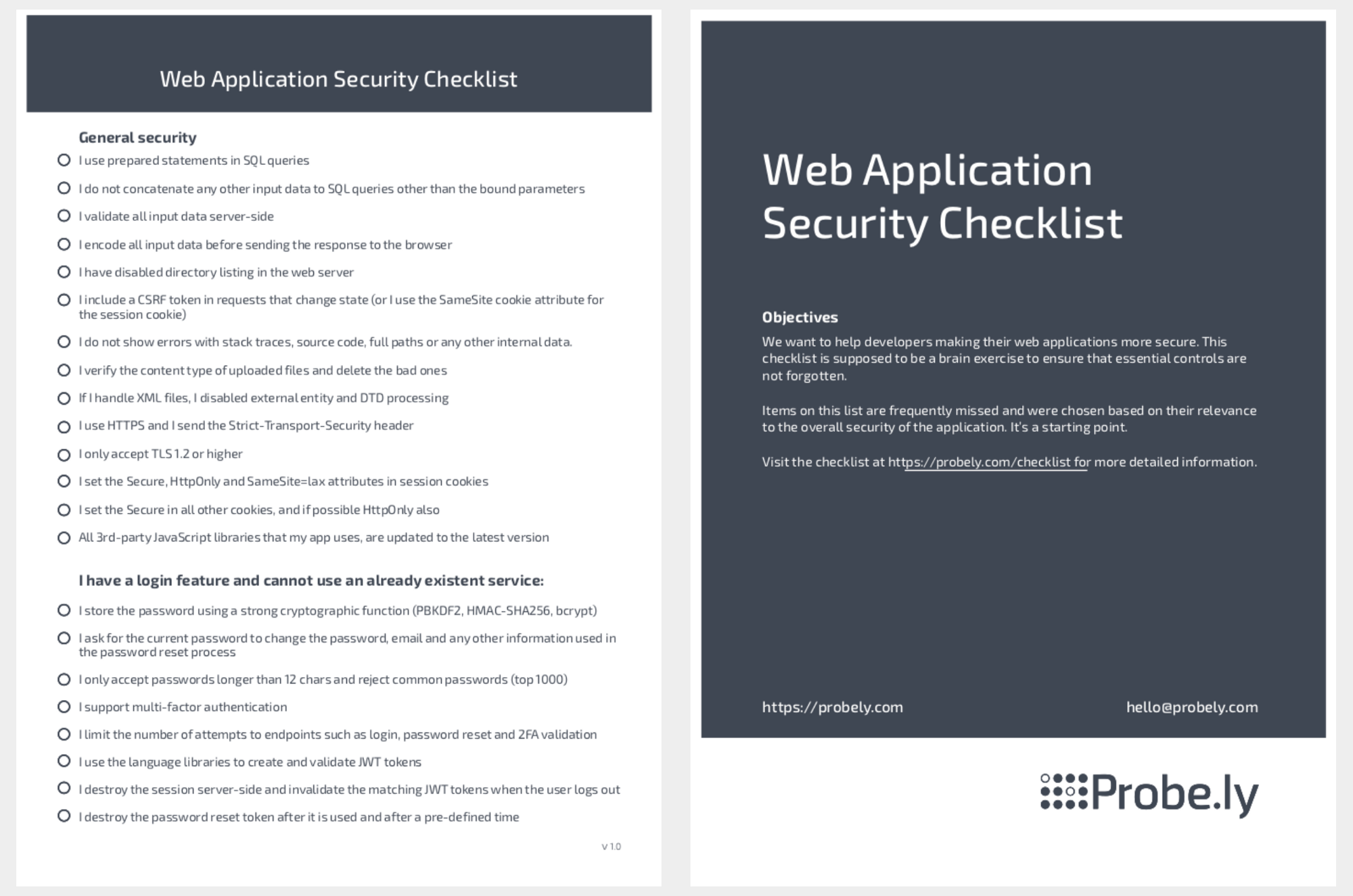 Web Application Security Checklist - Probely