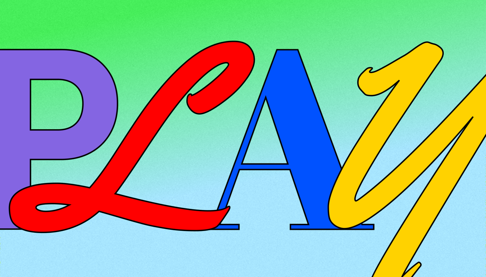 """A typographic design that says """"Play"""" in mixed typefaces."""