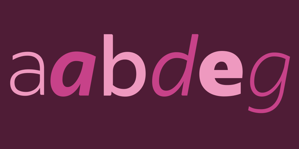 Indeed Sans includes a's and e's with optimistic curves and b's, d's, and g's with strokes reminiscent of calligraphy.