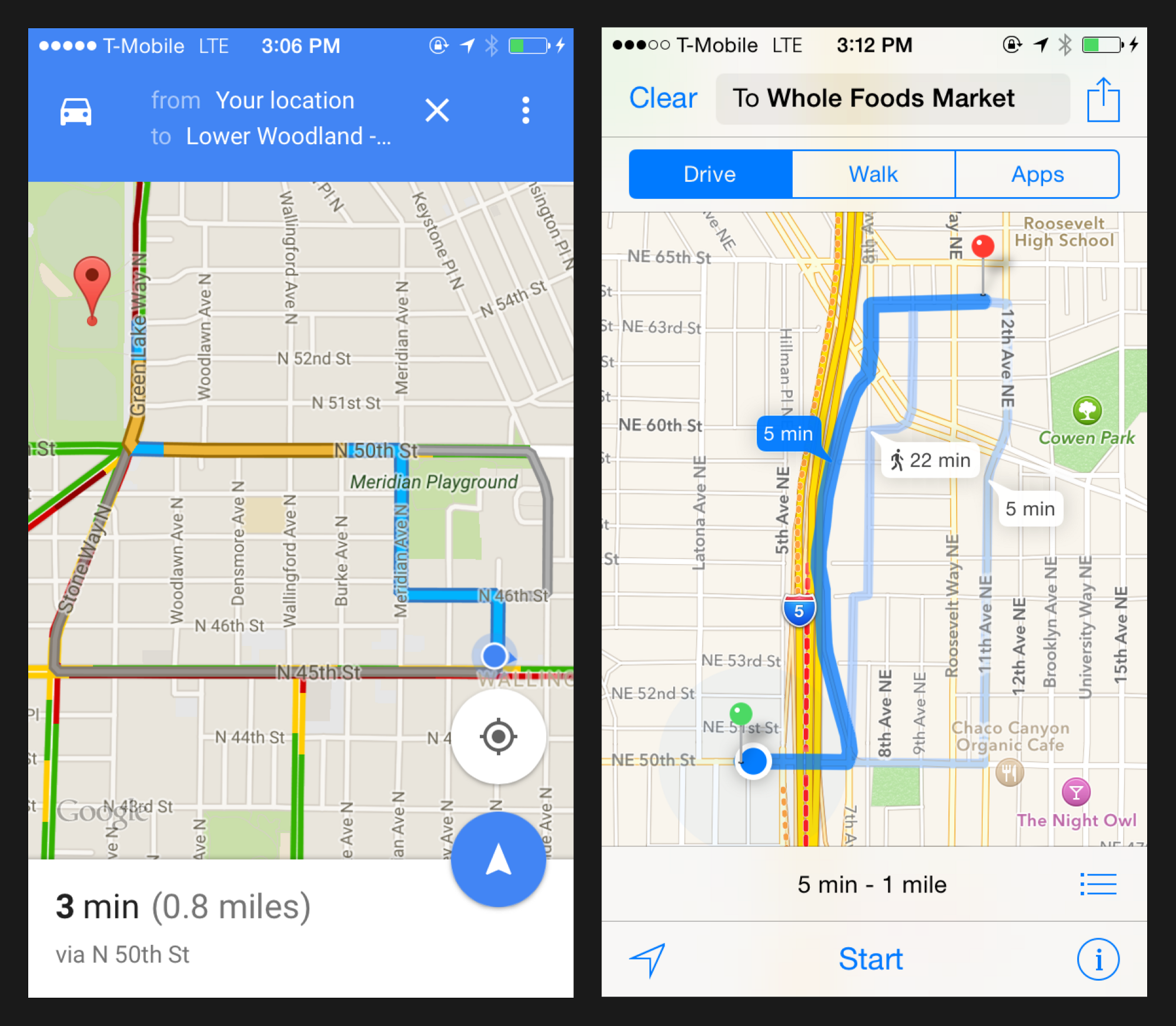 Comparison of mapping experience on both iOS and Android