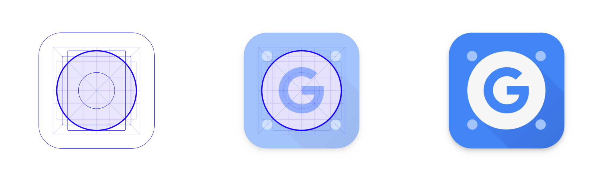 The Google Apps Device Policy icon uses the circular keyline from Material's Play Store grid