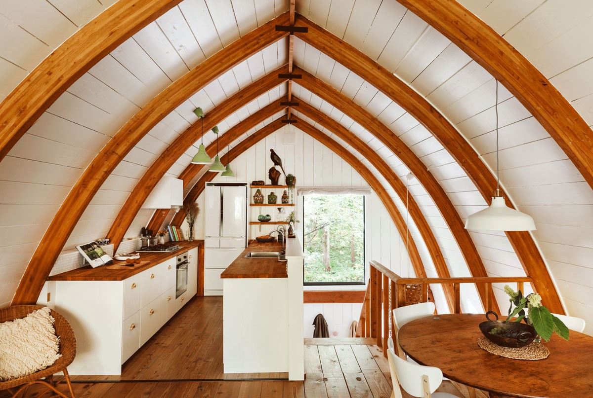 The interior of an A-frame house in Japan.