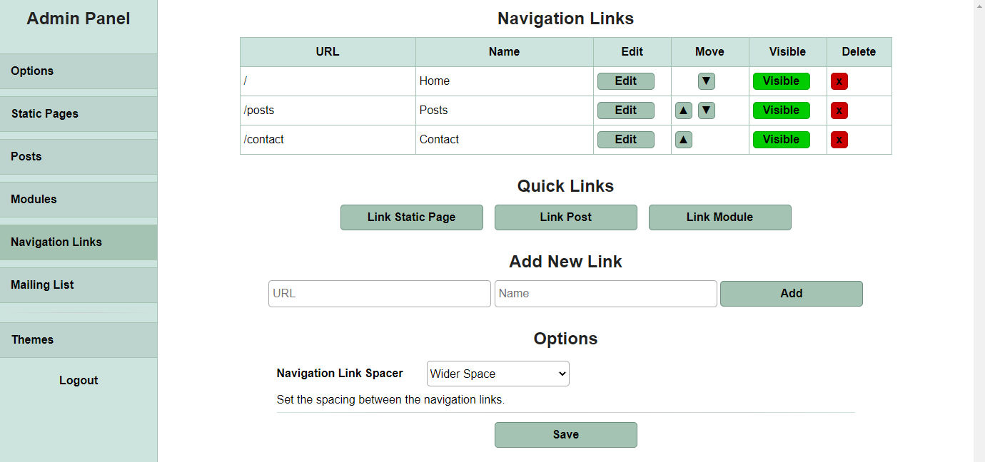 An image of my website's admin panel with the navigation link tab open and a short list of links with a few options.