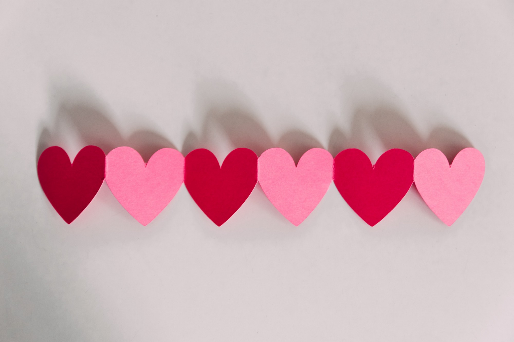 Paper hearts in a chain