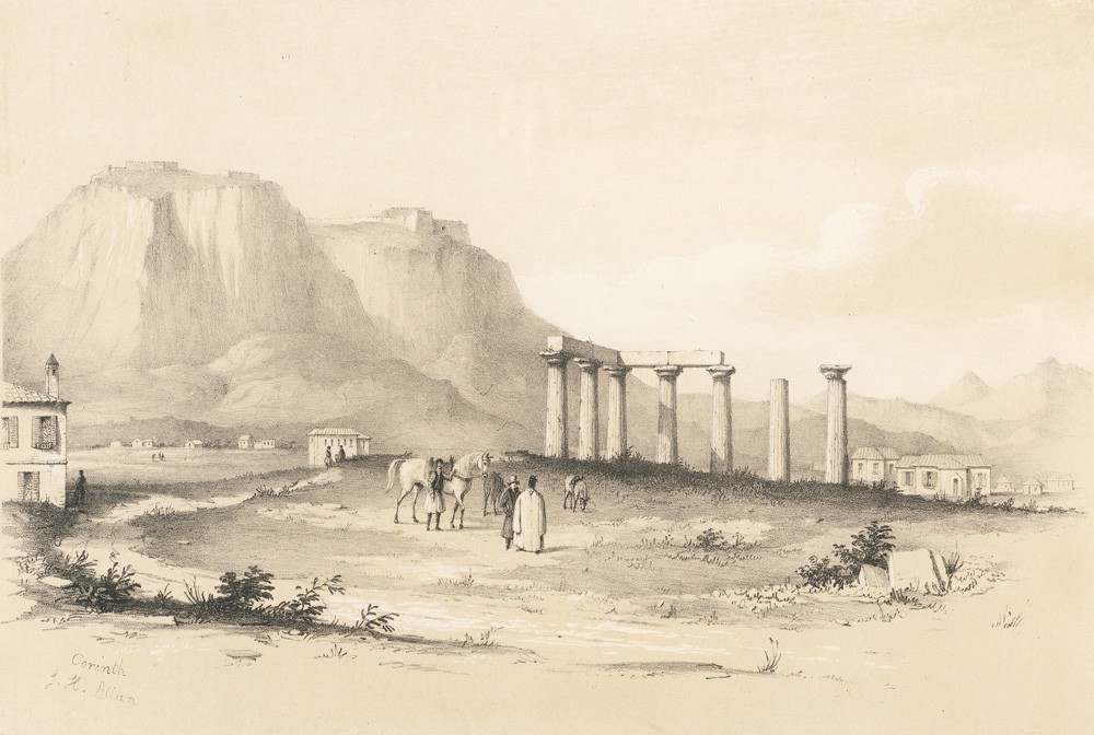 Drawing of the Temple of Apollo and Acrocorinth, c. 1840.