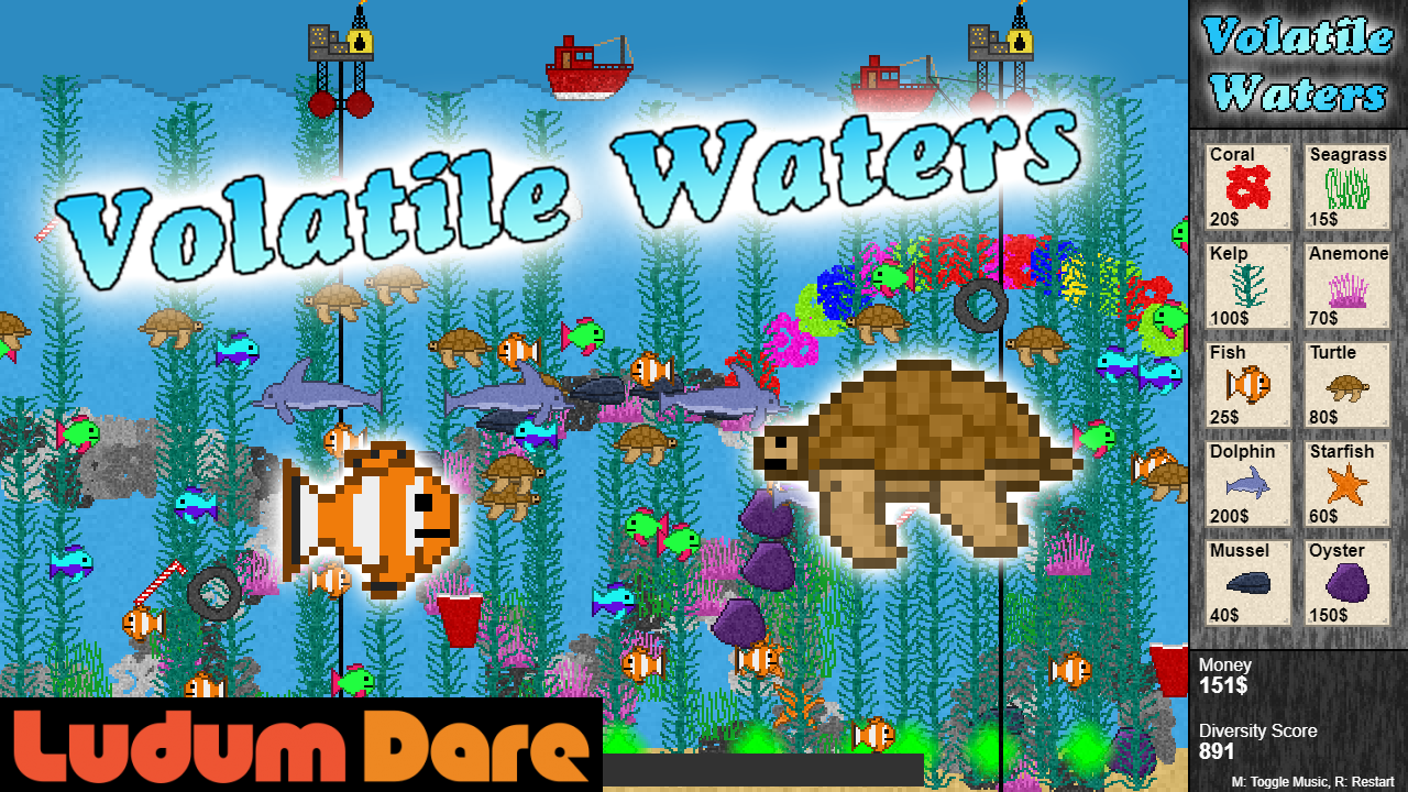 The title image for the game. You can see a nice looking marine coral reef ecosystem in pixel art style with corals, plants, and fish swimming around. On the right side is a user interface where you can select between 10 different items that you can use to build up the ecosystem to fight the pollution.