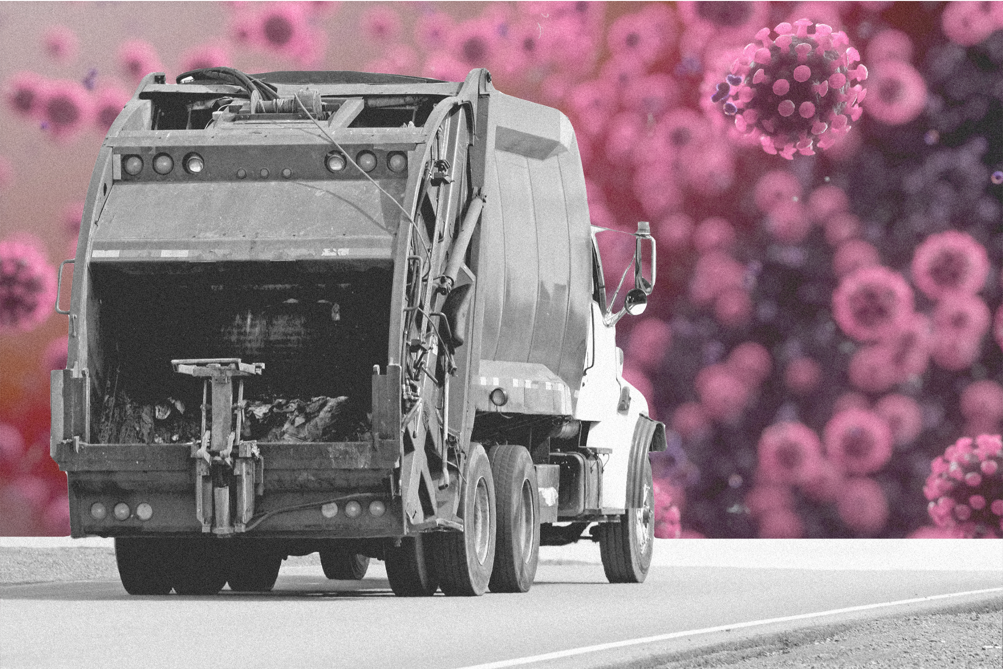 A photo illustration of a garbage truck against a background of coronaviruses.