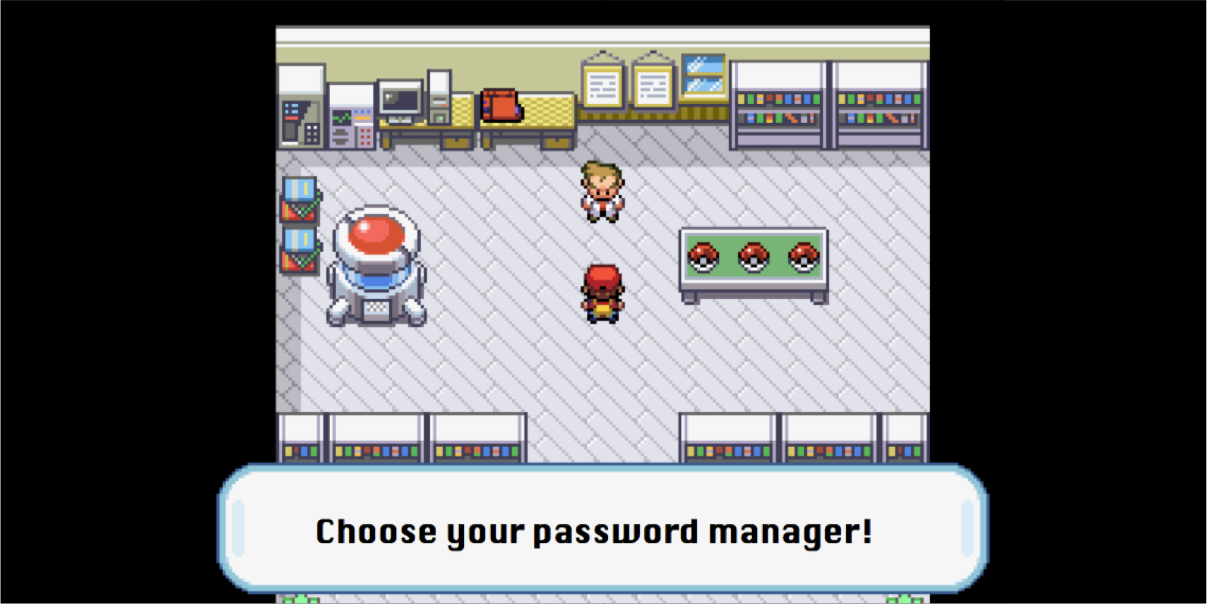 """A header image reading, """"Choose your password manager"""" with a screenshot from a Pokemon video game in the background, where the player chooses their starter Pokemon."""