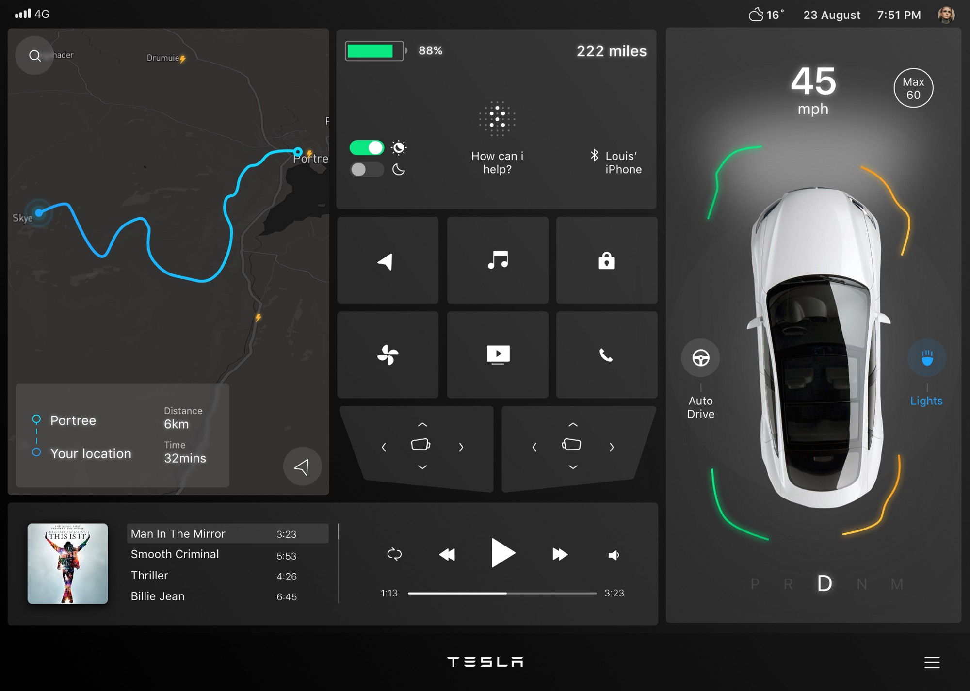 Interface concept for Tesla in-car dashboard — a UX case study