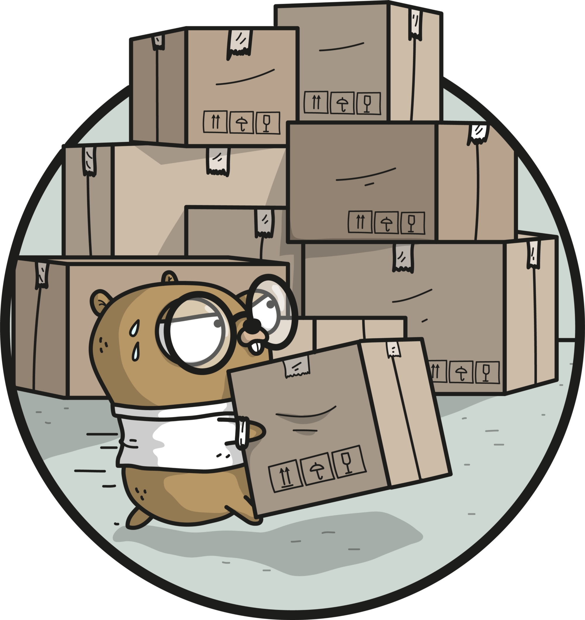 A gopher moving packages around
