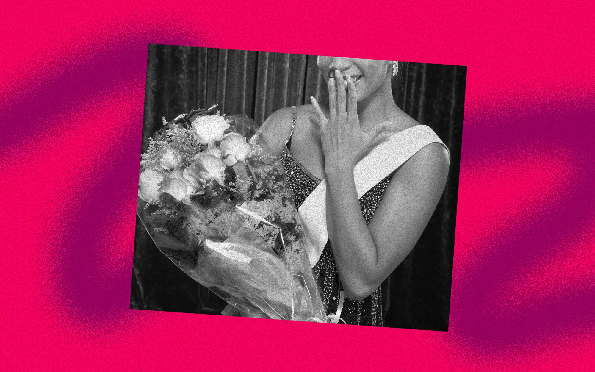 A photo illustration of a black and white image of a black beauty pageant winner holding a bouquet of roses.