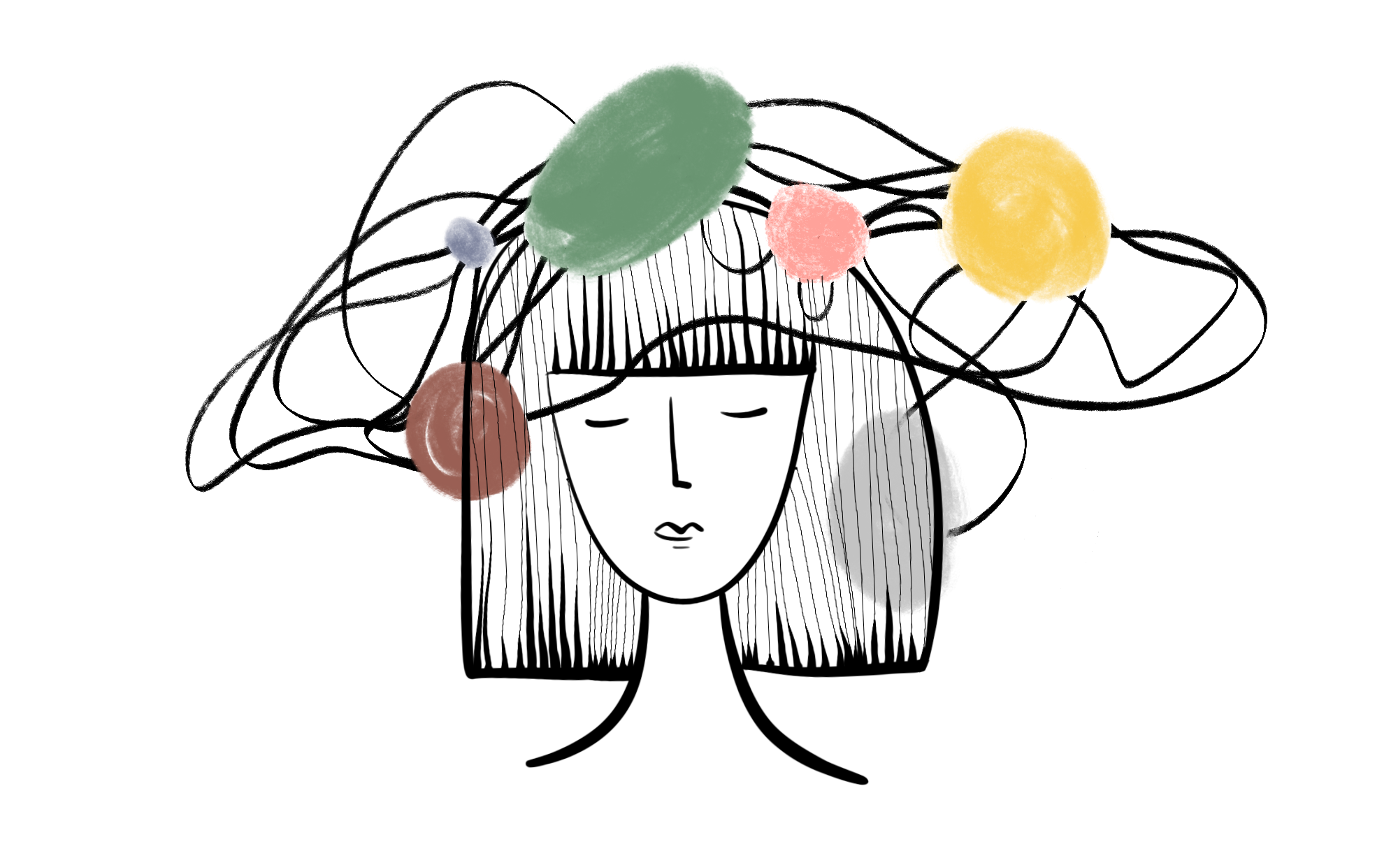 An illustration of a woman's face surrounded by abstract distractions