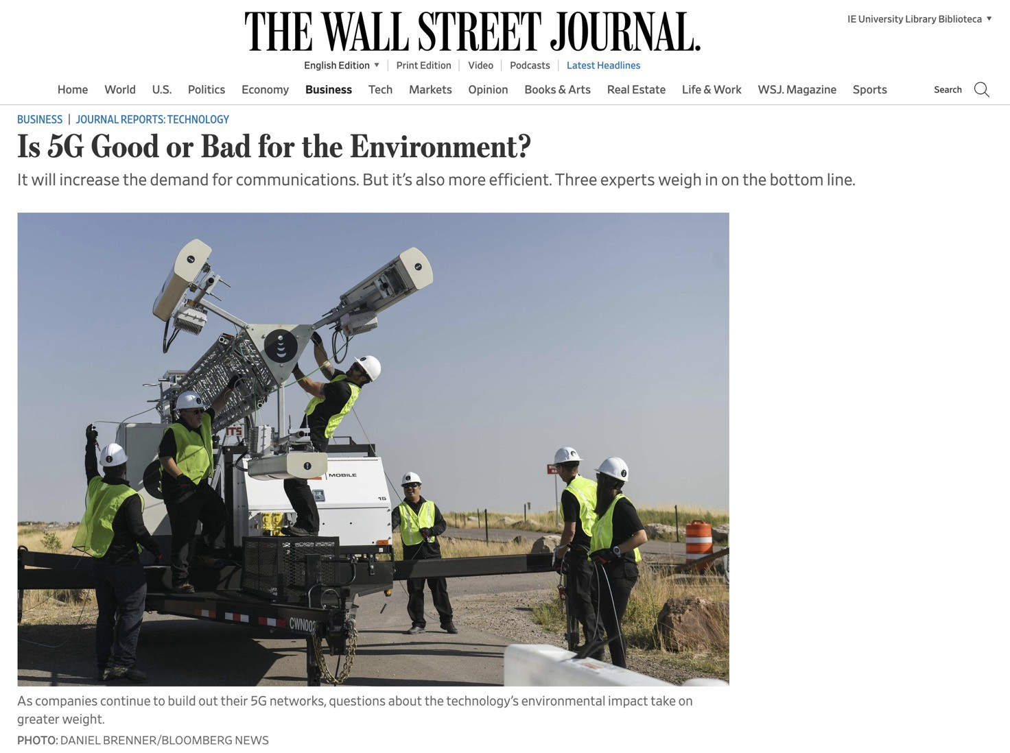 """IMAGE: Screen capture of the article """"Is 5G Good or Bad for the Environment?"""" featured on The Wall Street Journal"""