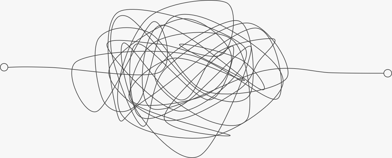 Squiggly lines illustrating the messy middle.
