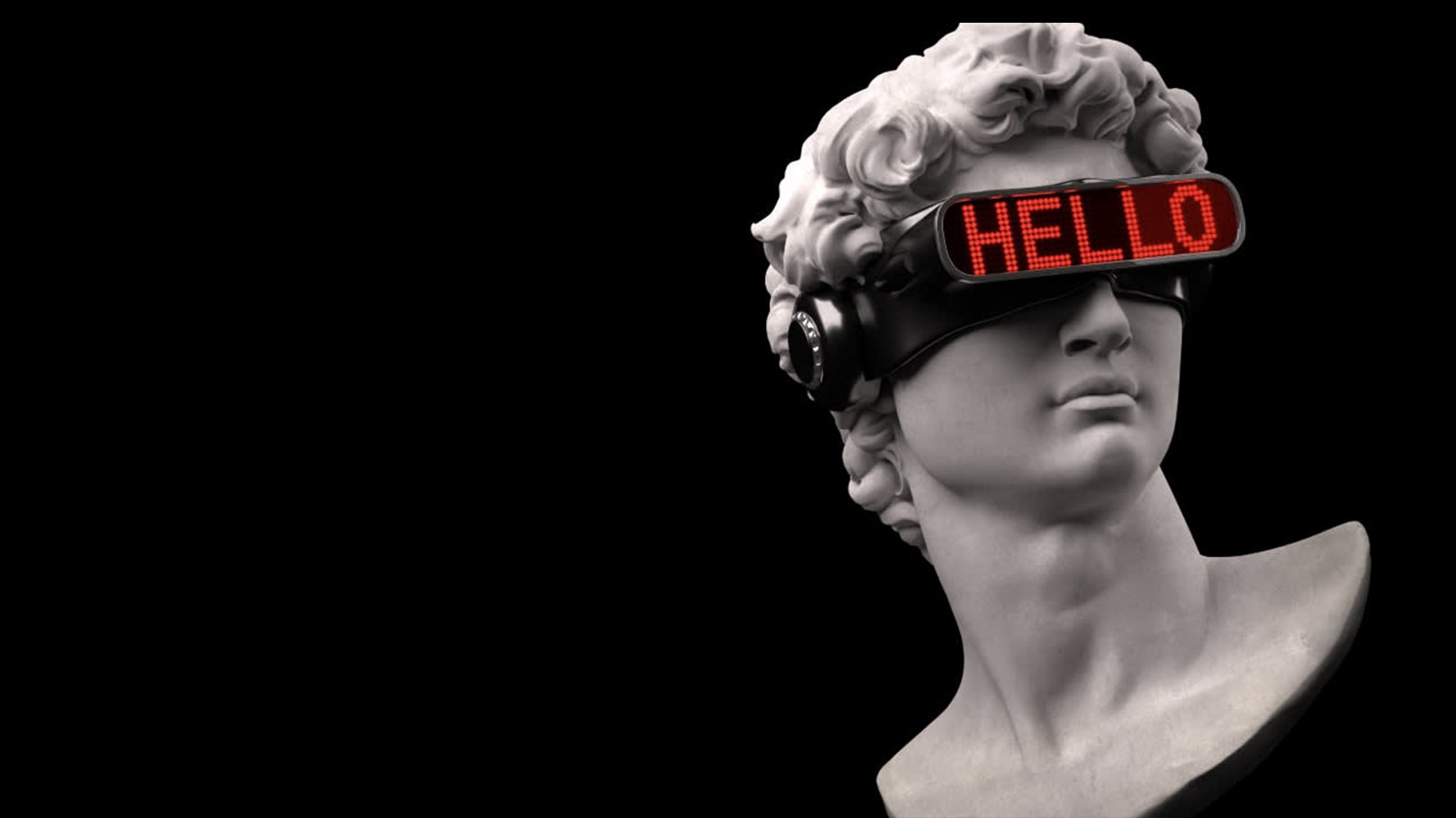 """The head of the Statue of David wearing VR goggles that say """"Hello""""."""