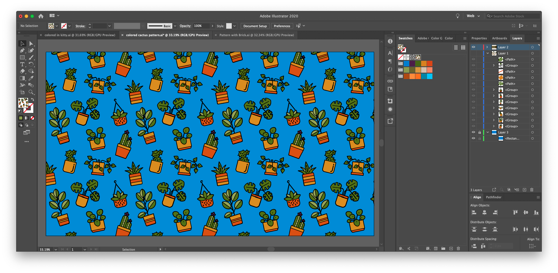 How to make a repeating pattern in Illustrator with more colorful icons: Use Live Paint to color in the shapes you'll use to make your pattern. Just know that you cannot use live paint within the pattern editor view.