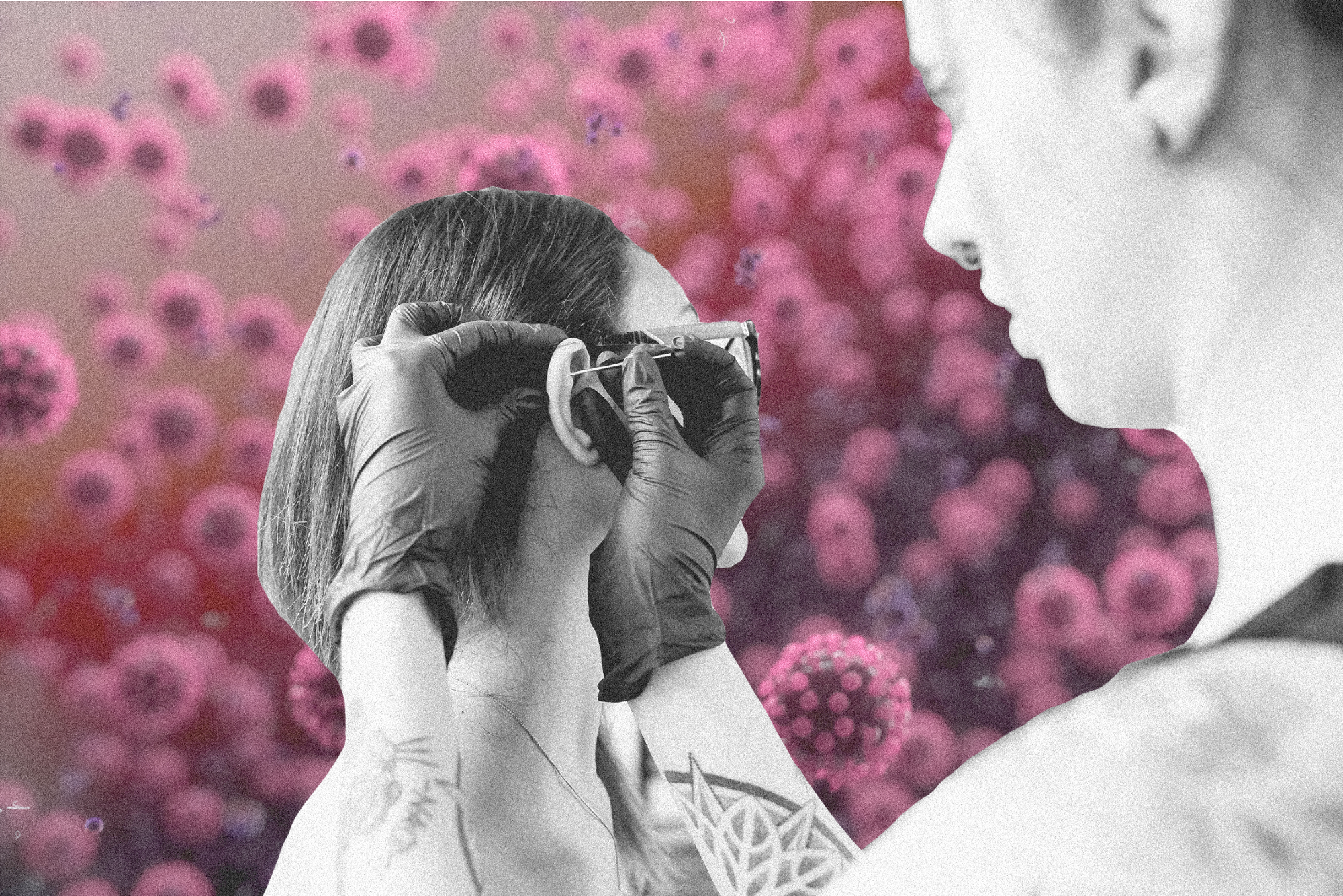 A photo illustration of a woman getting her cartilage pierced by a professional piercer against a backdrop of Coronavirus.